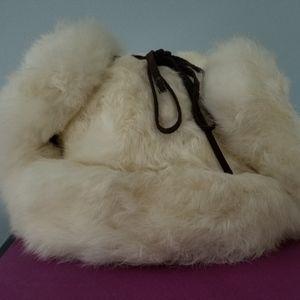 White Supplex Bomber with White Rabbit Fur